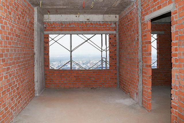 Hoàn thành xây tường bao căn hộ tầng 17 Block A, B, C