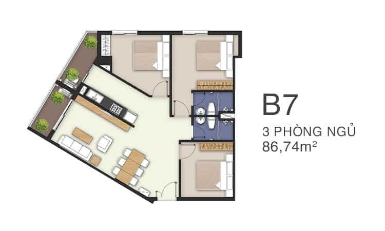 Mẫu căn 3 phòng ngủ