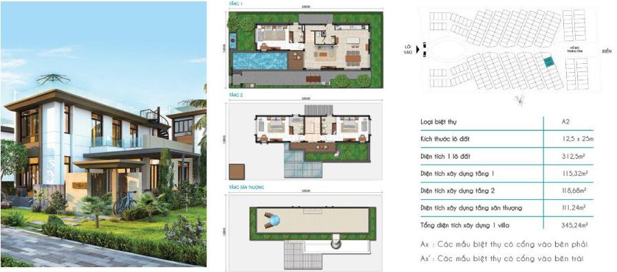 Mẫu Biệt Thự A2 Cam Ranh Mystery Villas