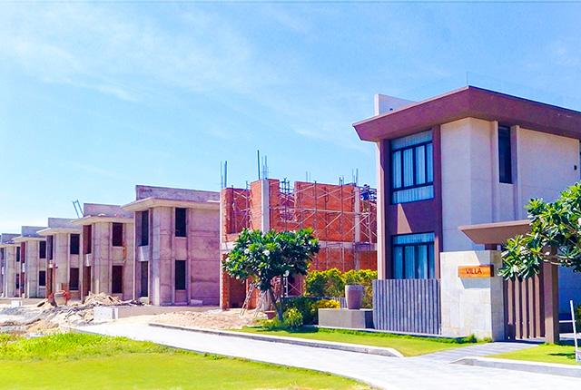 Công tác thi công xây tường khu L Cam Ranh Mystery Villas