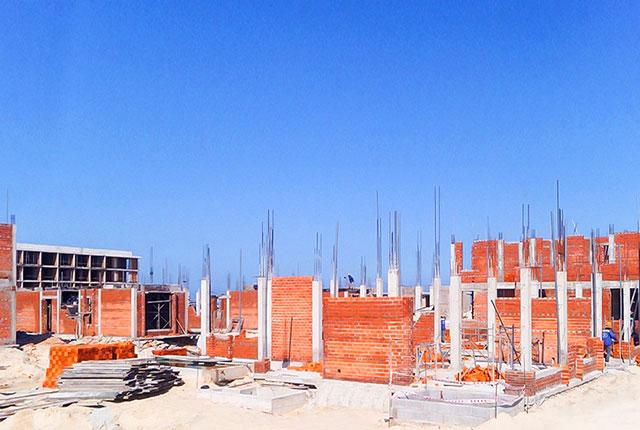 Công tác thi công xây tường khu A