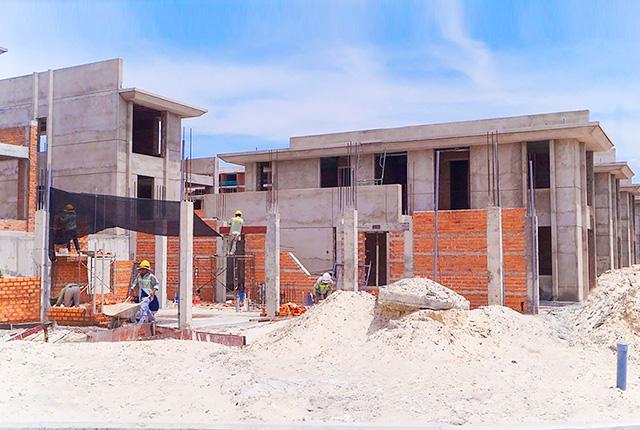 Công tác thi công xây tường tầng 1 khu G