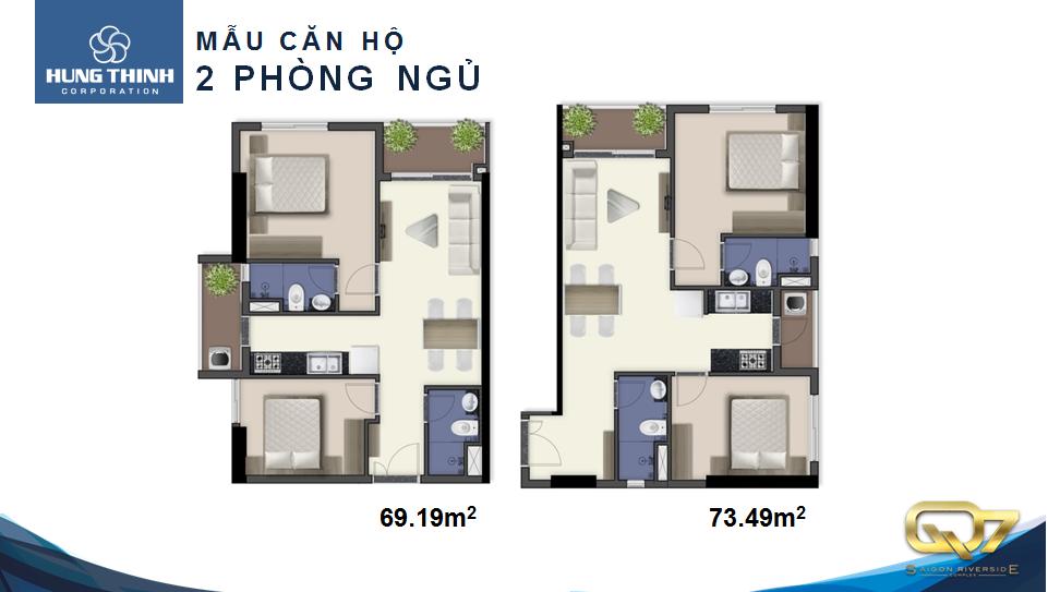 Mẫu căn hộ 2 phòng ngủ Q7 Riverside Complex