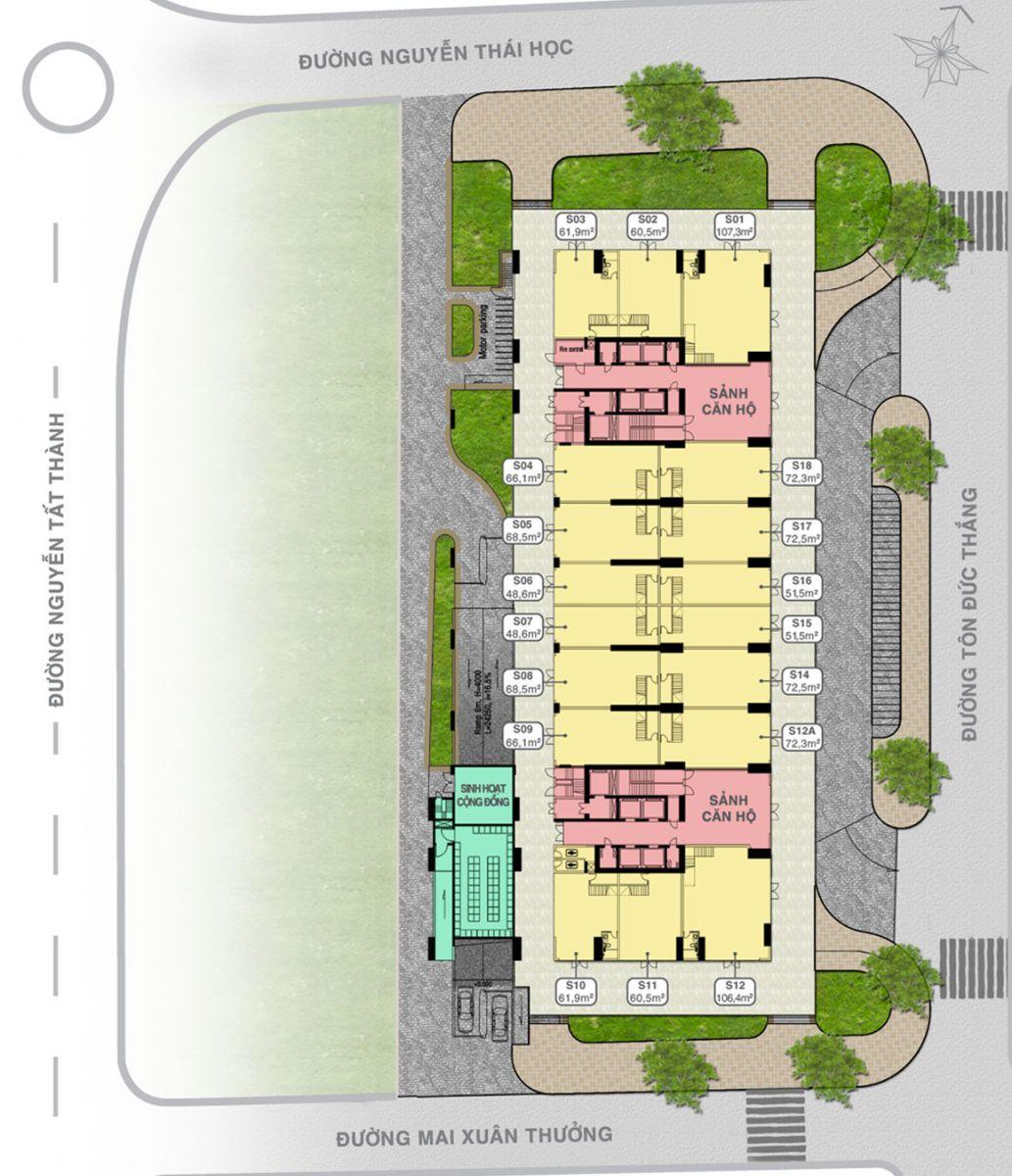 Mặt Bằng Tầng 01 Shophouse Grand Center Quy Nhơn