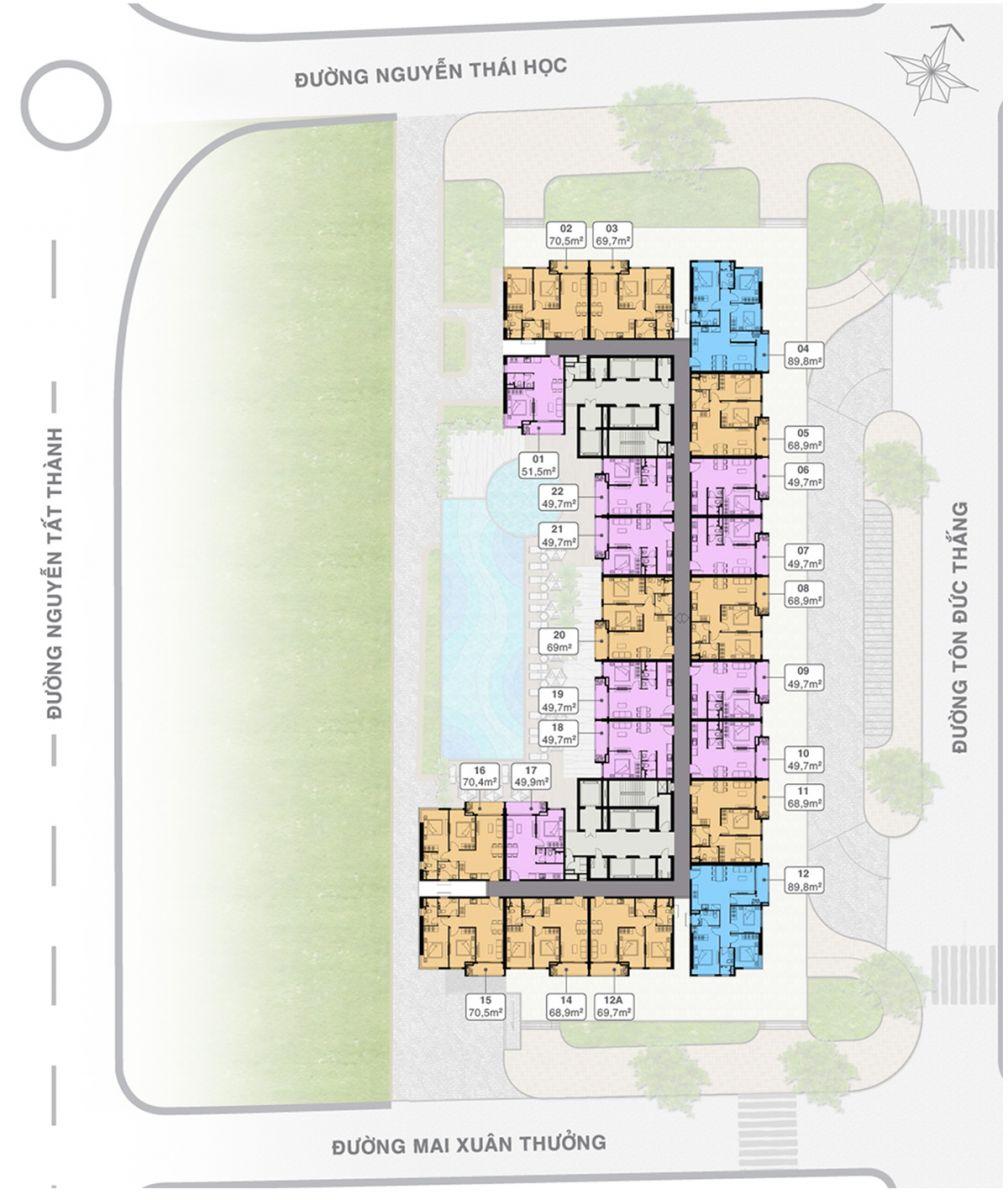 Mặt bằng Tầng 06-16; 18-29; 31-42Grand Center Quy Nhơn