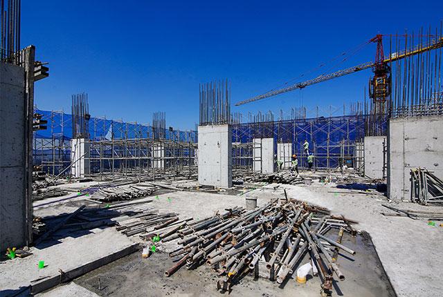 Hoàn thành đổ bê tông cột sàn tầng 20 Block C
