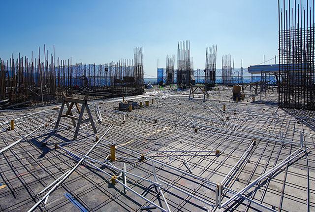 Thi công cốt thép sàn tầng 18 Block A1 và tầng 17 Block A2