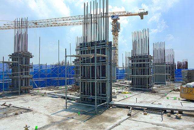 Hoàn thành đổ bê tông sàn tầng 8 và thi công cột sàn tầng 9 Block C