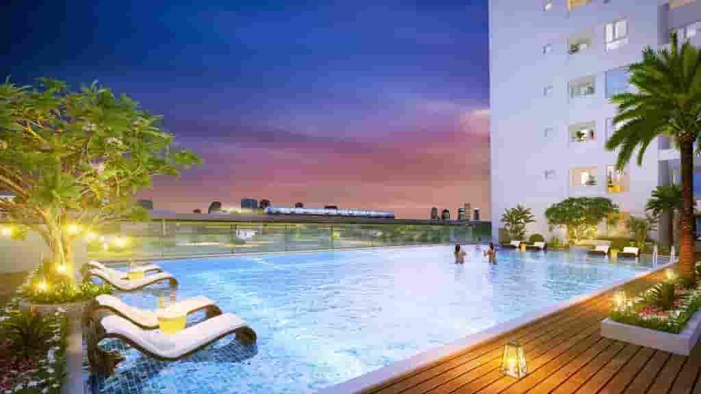 hồ bơi tràn tầng 2