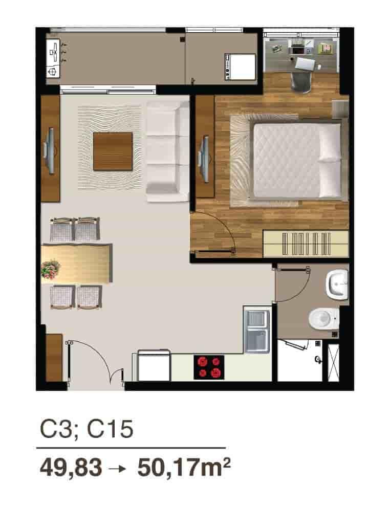 mẫu căn 1 phòng ngủ