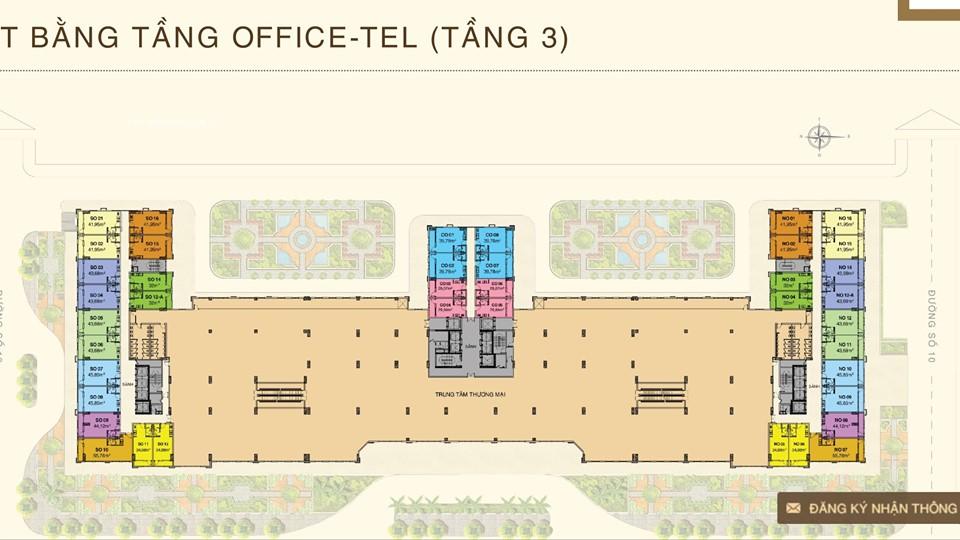 mặt bằng officetel saigon mia tang 3
