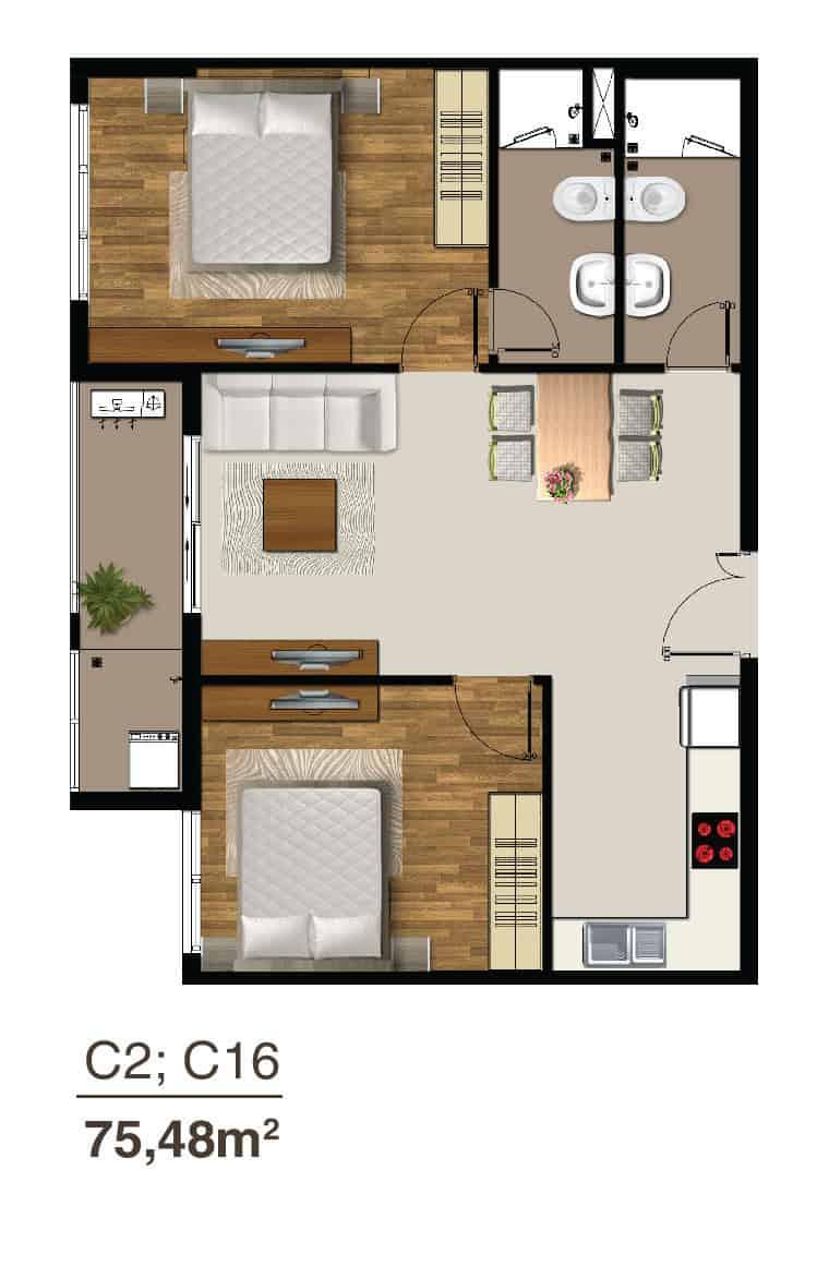 mẫu căn 2 phòng ngủ