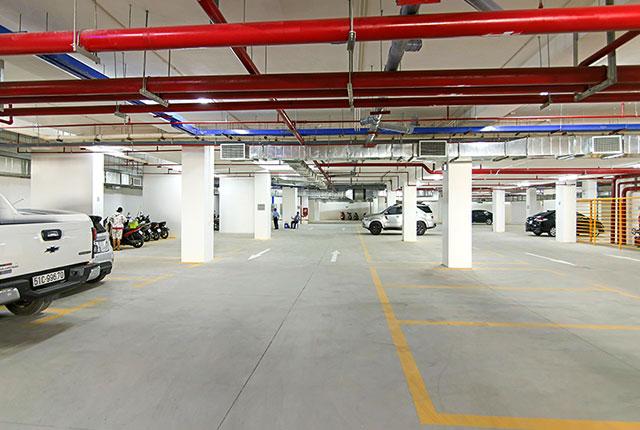 Hình ảnh hầm để xe đã hoàn thiện và sẵn sàng phục vụ cư dân