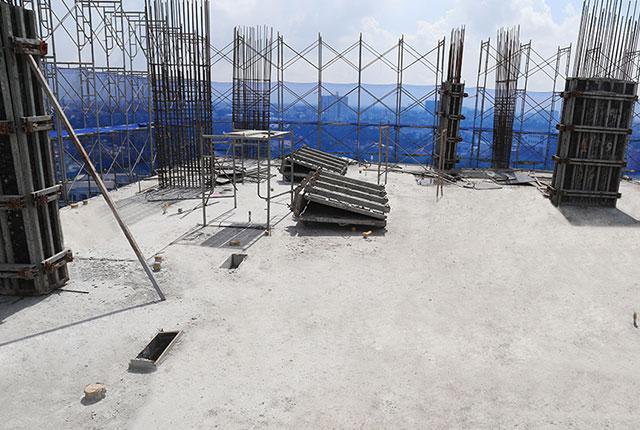 Hoàn thành đổ bê tông sàn tầng 9 block B