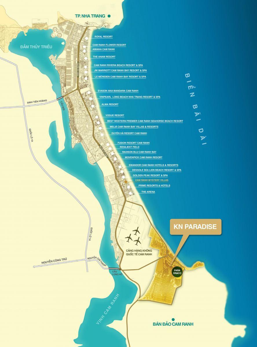 vị trí biệt thự biển para draco cam ranh
