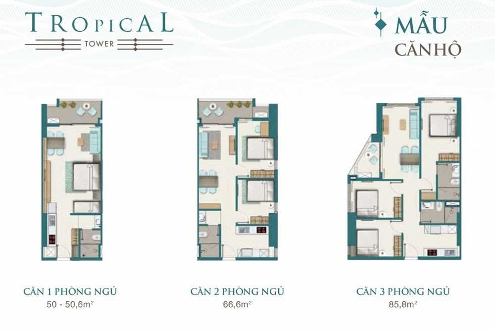 Mẫu Căn Hộ Tòa Tropical Quy Nhon Melody