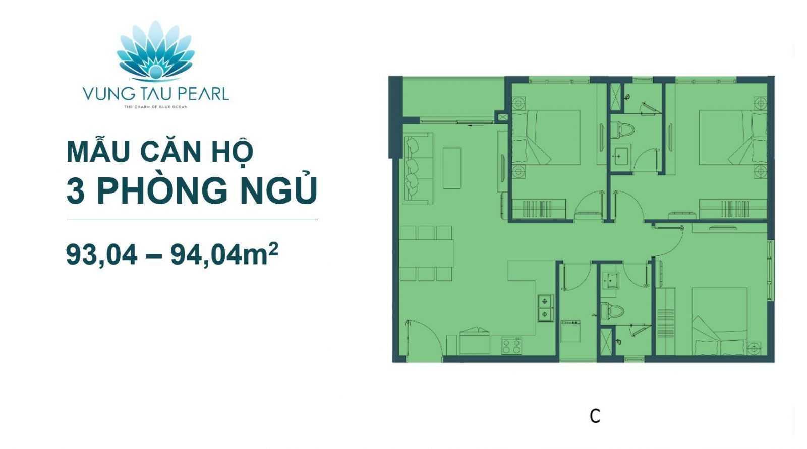 Mẫu Căn Hộ 3 Phòng Ngủ Vung Tau Pearl